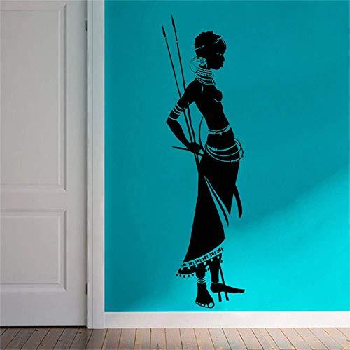 42X139 Cm Afrikanischen Stil Wandtattoo Fensteraufkleber Dekor Schönheitssalon Wandtattoos Frau Stehhaltung Afrika Afro Art Design Wandbild