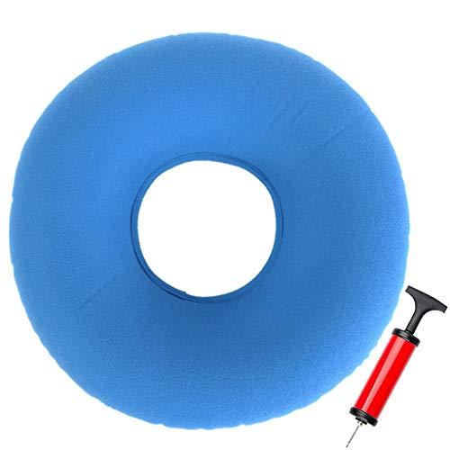 Ouceanwin Anillo de hemorroides Dekubitus, color azul claro, anillo de asiento hinchable ortopédico, redondo, con bomba para inflamación, dolor de coxis, embarazo, parto