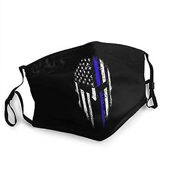 Unisex Adjustable Face Mask Thin Blue Line USA Flag Spartan Cloth Face Mask,Reusable & Washable