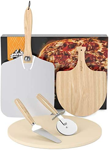 SHINESTAR 12 Inch Pizza Stone and Pizza Peel Set 5 Piece Pizza Grilling Set Round Pizza Stone product image