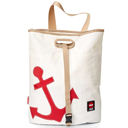 360° Tender Freizeittasche aus Segeltuch mit Schultergurt, Recycling Seesack Shopper Bag, Schultertasche Hobo Bag für Shopping und Strand, weiß, Anker rot