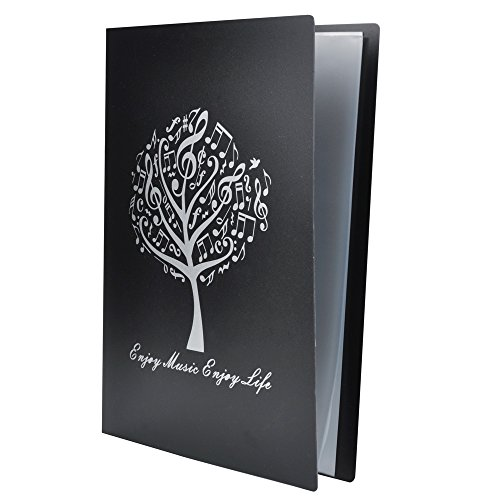 Music Sheet File Paper Storage Folder Documents Holder Blank Sheet Files Plastic A4 Size 40 Pockets (Music Tree Black)