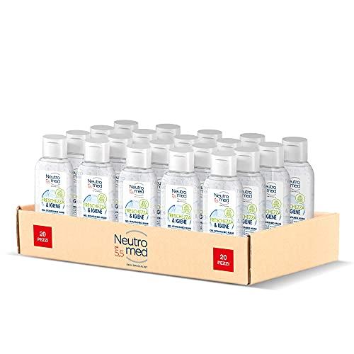 Neutromed Gel Igienizzante Mani Freschezza & Igiene, Gel Disinfettante Antibatterico, 20 pezzi x 50...