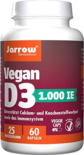 Vegan D3 1000 IE, aktives Vitamin D3 als Cholecalciferol, 60 vegane Kapseln, hochdosiert, Jarrow Deutschland