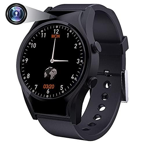 wasserdichte Versteckter Spionage Kamera Smartwatch, 1,3 Zoll Spy Uhr mit Überwachungskameras, 1080p Videoaufnahme Fitness Tracker, Bluetooth Armband Spionageuhr für Android iOS (32GB)