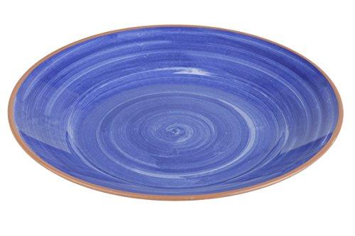 APS 84161 bord -LA VIDA- Ø 32cm, H: 3,5cm melamine, buitenkant: terracotta look binnen: decor in blauw