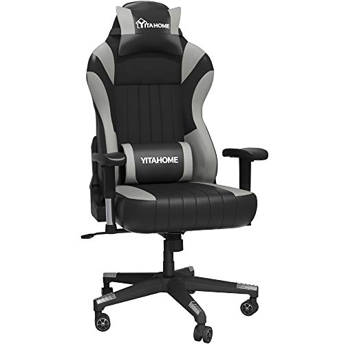 YITAHOME 400lb Capacity Gaming Chair with Headrest and Lumbar Support Big and Tall Heavy Duty High Back Office Chair Ergonomic Swivel Recliner Desk Chair with Adjustable Armrest, Black