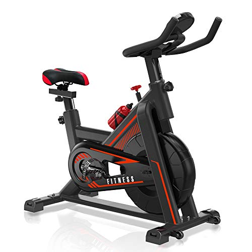 VIEWALL Indoor Exercise Bikes Stationary - Belt Drive Cycling Bike with Adjustable Resistance, Comfortable Seat Cushion, Tablet Holder and LCD Monitor for Home Cardio Workout Bike Training