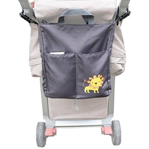 ZEEUPAI - Borsa universale a tracolla passeggino borsa per i genitori borsa per pannolini carrozzina (Grigio - Leone)