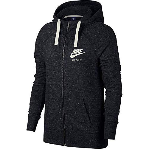 Nike Damen Sportswear Gym Vintage Hoodie mit Durchgehendem Reißverschluss, Black/Sail, L