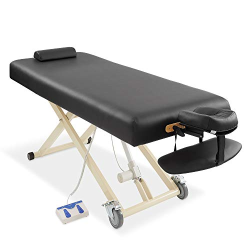 Saloniture Professional Electric Lift Massage Table - Includes Headrest, Face Cradle and Bolster - Black