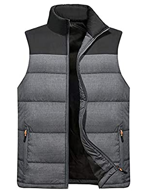 Vcansion Men's Outdoor Casual Stand Collar Padded Vest Lightweight Down Cotton Jacket Coat Vest Black+LightGray S