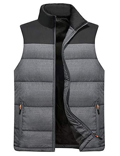 Vcansion Men's Outdoor Casual Stand Collar Padded Vest Lightweight Down Cotton Jacket Coat Vest Black+LightGray L