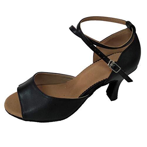 Zapatos de baile latino para mujer, con puntera abierta, salón de baile, suela suave, profesional, para interiores y sociales, color negro, negro (Tacón negro de 7,5 cm.), 40 EU