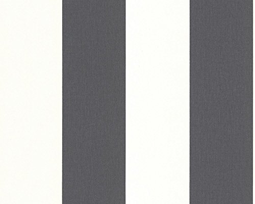 A.S. Création Vliestapete Elegance Tapete mit textilartiger Oberfläche Blockstreifentapete 10,05 m x 0,53 m grau weiß Made in Germany 179050 1790-50