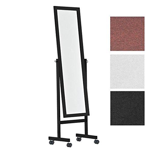CLP Holz-Standspiegel Yolanda mit Laufrollen I Schlichter Garderobenspiegel aus lackiertem Holz I erhältlich Schwarz