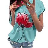 Women's Basic Top Casual Cute Rose Floral Dekor Blouse V Neck T Shirt High Low Side Split Tunic Tops Sweatshirts