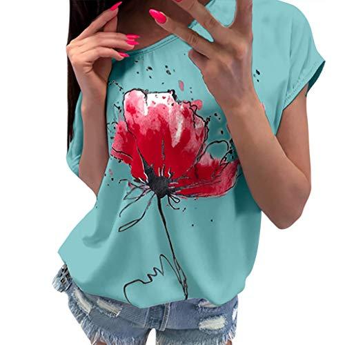 OVERDOSE Frauen Kurzarm Blumen Pumps Gedruckt Tops Strand Beiläufige Lose Bluse Top T-Shirt (EU-38/CN-M, X-ab-grün)