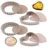 NALCY Molde Quiche Desmontable, Plato de quiche en forma de corazón, Molde para Tartaletas Antiadherentes, Extraíble Loose Bottom Tart Pie,Round Tart Quiche Pan con base extraíble