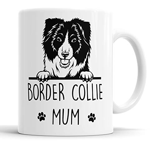 """Faithful Prints Taza de cerámica con texto en inglés """"Border Collie"""", para mamá, papá, amigo, broma, regalo divertido para cumpleaños, Navidad, taza de cerámica"""