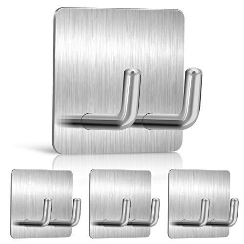 YasTant 4 Pcs Premium Heavy Duty Adhesive Hooks Wall Hangers for Bathroom, Self Stick Hooks for Hanging Heavy Duty, Self Adhesive Razor Holder for Shower Wall Straight