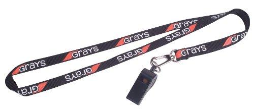 New Grays Hockey Lanyard Training Neck Strip Coaching Whistle Holder Black