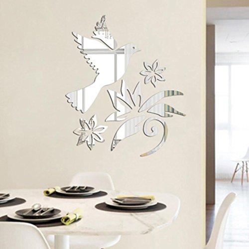 Wandaufkleber,Blume Vogel Muster Moderner Spiegel Wandsticker Entfernbarer Abziehbild Wand Aufkleber Ausgangsraum DIY Moginp (e)