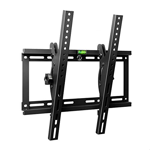 Tilt TV Wall Mount Bracket for Most 23-55 Inch LED LCD OLED Plasma Flat Curved Screen TVs, Low Profile, Up to VESA 400x400mm, Fits 16' Wall Studs and Loading Capacity 132 lbs, Includes Level