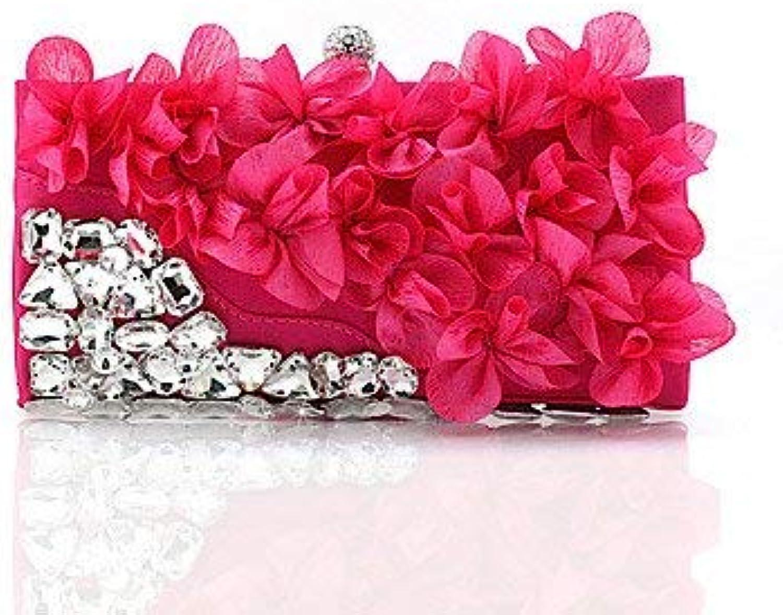 Ladies Handbag Women'sfashion Flowers Dinner Evening Bag Hand Bag Bride (color   Fuchsia)