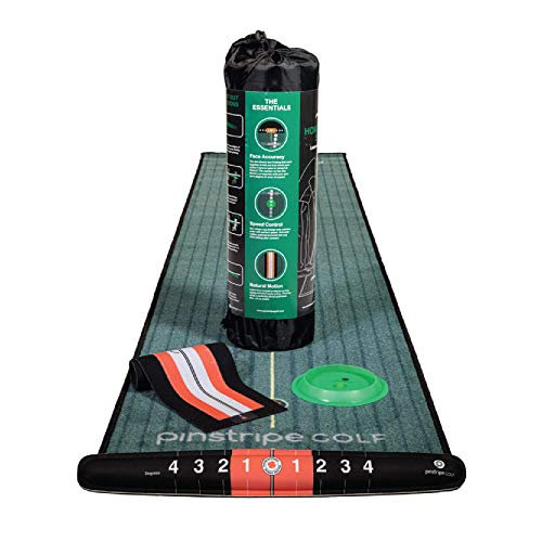 PINSTRIPE GOLF Golf Putting Mat Indoor Putting Green – Complete Home Putting Studio Includes...