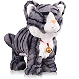 Pattern Gray Robot Cat Plush Cat Stuffed Animal Interactive...