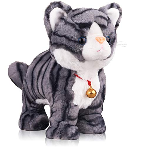 Pattern Gray Robot Cat Plush Cat Stuffed Animal Interactive Cat , Meow Kitten Touch Control, Electronic Cat Pet, Robotic Cat Cat Kitty Toy, Animated Toy Cats for Girls Baby Kids L:12'
