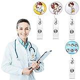 Porta Badge Medico, 4 Pezzi Porta Badge Infermiera, Distintivo Retrattile per Infermiere, Clip Del Permesso di Lavoro per Operaio...
