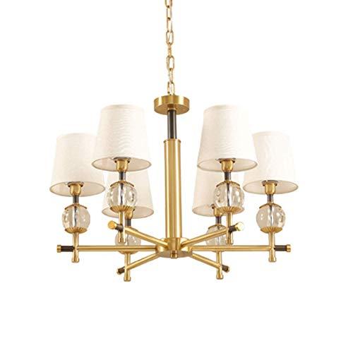 Lámpara colgante industrial moderna de latón cepillado lámpara colgante de lujo de mediados de siglo con pantalla de tela para restaurante sala de estar luz dorada dorado 6 luces