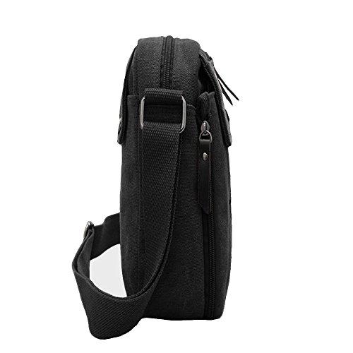 Harwish Men's Multifunctional Canvas Messenger Handbag Outdoor Sports Over Shoulder Crossbody Side Bag (Black)