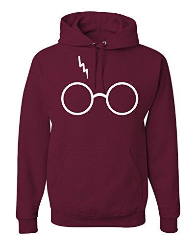 Wild Bobby Wizard Glasses Scar Unisex Hooded Sweatshirt Fashion Hoodie (Maroon, XL)