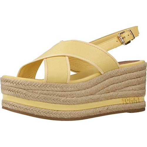 Tommy Hilfiger Damen Sandalen Sandaletten Platform Sandal Gelb 41 EU