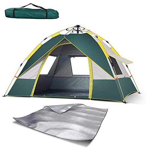 Dome Tent 4 Doors and Windows,Pop Up Tents for 2 to 3 Person Automatic Opening Double Layer Tent,Waterproof Camping Tents with Porch For Hiking Camping Outdoor with Moisture-proof pad