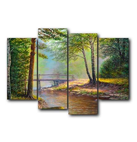 MXmama Wald Holzbrücke/Baby Leinwand Poster und Drucke/Wohnzimmer Haus Wanddekorkunst Malerei/Home DecorPicture-40x80cmx2 40x100cmx2 kein Rahmen
