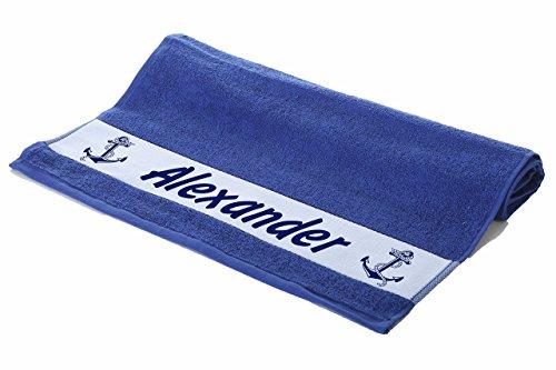 Werbetreff Gera Handtuch mit Name Bedruckt, 100 x 50 cm, Motiv Maritim Anker Farbe blau, Royalblau, Matrose, Kreuzfahrt, Urlaub, Geburtstag, Segeln, Yacht