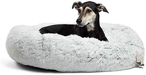 Fangqiyi Lrhps Redondo Cama Mascotas Cama para Perros Donut Cremallera Inferior Que se Puede Quitar y Lavar,para Mascotas Gatos y Perros Pequeños Gris,100 * 100cm