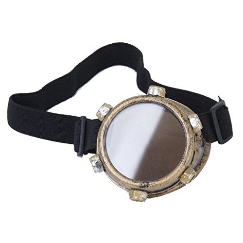 TOOGOO(R)) Schutzbrille Jahrgang Steampunk Brille Zyklop Brille Gotik Cosplay Kostuem Fuer das Linke Auge (Messing)