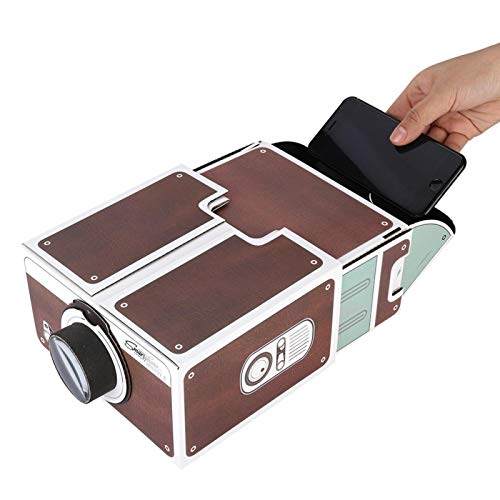 Ciglow Cardboard Projector Mini DIY Portable Projector Smartphone Projector Ingenious Toy Projector for Kids Easy Operation Can Enlarge 8 Times Mobile Phone Screen