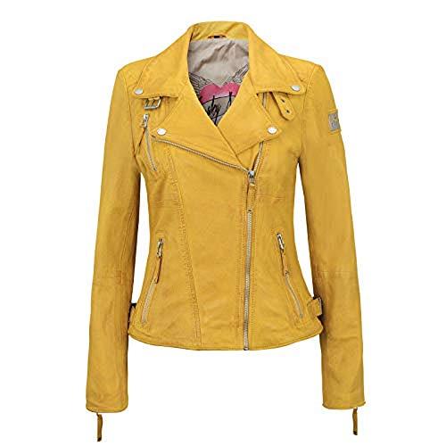 Freaky Nation Damen Lederjacke Bikerjacke Schwarz Rot Gelb Cognac Braun Echtleder Tailliert (S, Gelb)