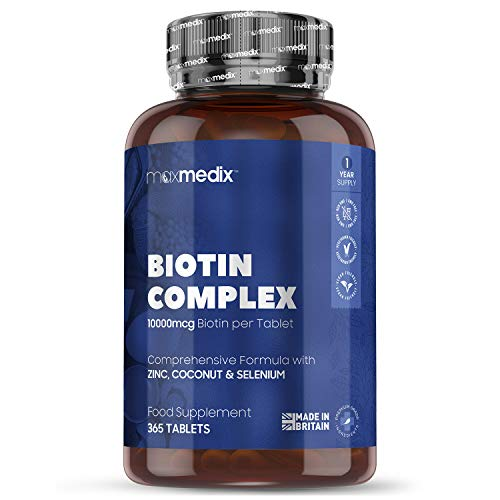 Biotin Complex Hair Growth Tablets - 10,000ug - 365 Tablets (1 Year Supply) Biotin For Hair Growth, Skin & Nails Plus Zinc & Coconut Oil Hair Support Complex, Nail Strength + Skin Care, Vegan Friendly
