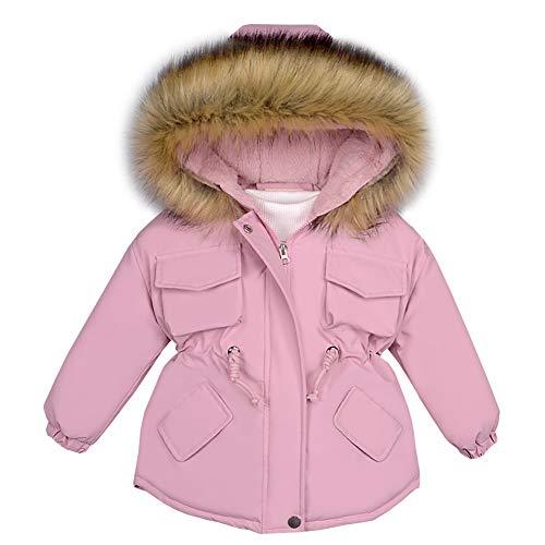 LPATTERN Kinder Winterjacke Mädchen Wintermantel mit Fellkapuze Winddicht Warme Verdicken Winter Mantel Parka Outdoorjacke, Hell-Pink, 92-98