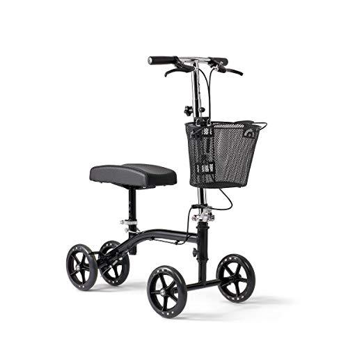 Medline Steerable Knee Walker, Alternative to Crutches, Hand Brakes, Basket, Brakes, 8-Inch Wheels, Light Weight