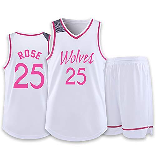 CBVB Vestito Da Pallacanestro Da Donna Da Uomo, Timberwolves # 25 Rose Sportivo All'aperto Rosa, T-Shirt Da Pallacanestro Traspirante E Rapida Asciugatura + Pantaloncini White#25-S