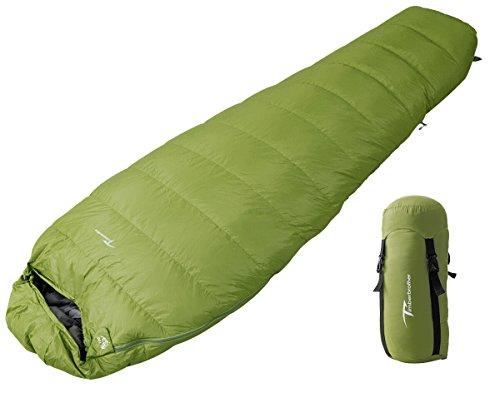Timberbrother 700 Ultraleicht Schlafsack Daunenschlafsack 5°C Outdoor für Wandern, Camping, Trekking - Kompressionspacksack (Grün - Regular, 0~5°C)