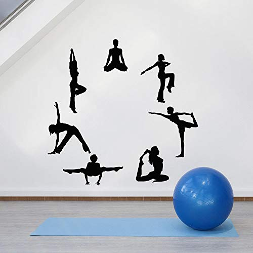 Yoga Pose Wandtattoo Runde Balance Entspannung Vinyl Türen und Fenster Aufkleber Meditationsraum Yoga Studio Innendekoration Wandbild28x28 cm